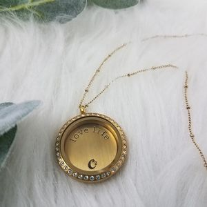 Origami Owl Jewelry - ORIGAMI OWL Gold Crystal Living Locket Necklace
